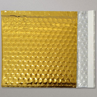 Yellow Aluminum Bubble Padded Bag sealed with bag sealing tape