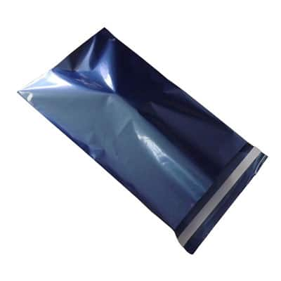 blue mailing bag sealed by permanent tape